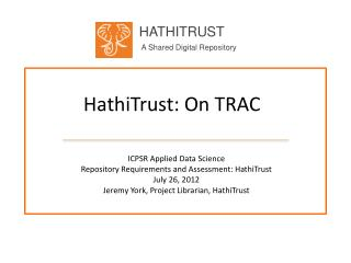 HathiTrust : On TRAC
