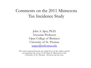 Comments on the 2011 Minnesota  Tax Incidence Study