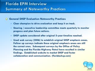 Florida EPM Interview Summary of Noteworthy Practices