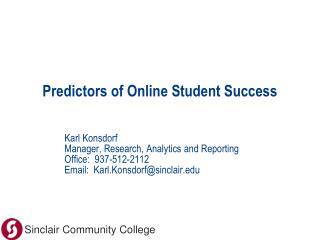 Predictors of Online Student Success