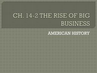 CH. 14-2 THE RISE OF BIG BUSINESS