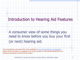 introduction to hearing aid features