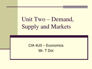 Unit  Two  –  Demand , Supply and Markets