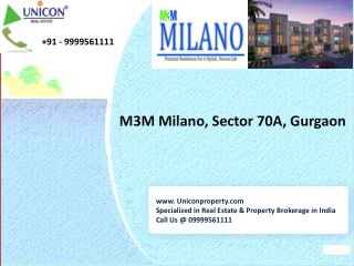 m3m milano | 09999561111 | m3m milano sec-70a gurgaon
