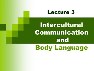 intercultural communication and body language