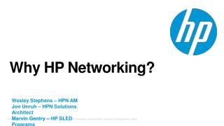 Why HP Networking?
