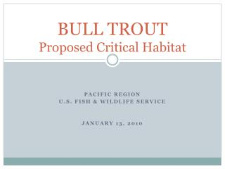 BULL TROUT Proposed Critical Habitat