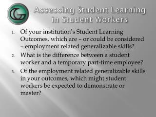 Assessing Student Learning in Student Workers
