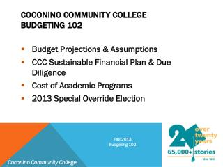 Coconino Community College Budgeting 102