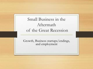 Small Business in the Aftermath  of the Great Recession