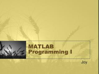 matlab programming i