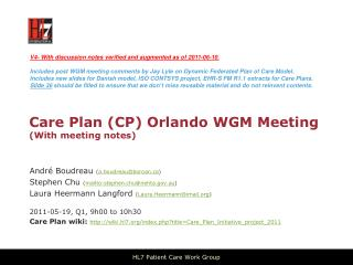 Care Plan (CP) Orlando WGM Meeting (With meeting notes)
