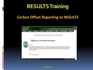 RESULTS Training Carbon Offset Reporting to RESULTS