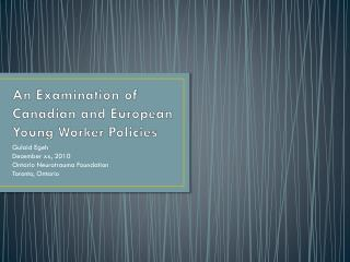 An Examination of Canadian and European Young Worker Policies