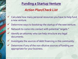 Funding  a Startup  Venture Action Plan/Check List