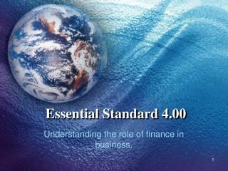 Essential Standard 4.00
