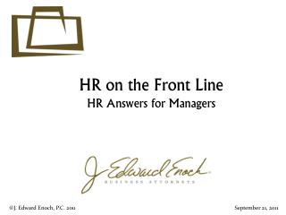 HR on the Front Line HR  Answers for Managers
