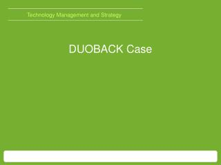 Technology Management and  Strategy