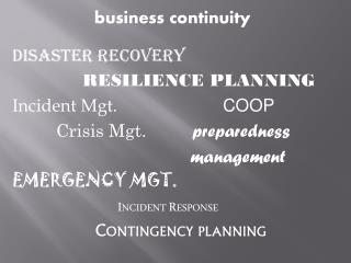 b usiness continuity Disaster Recovery RESILIENCE PLANNING Incident Mgt.				 COOP Crisis Mgt.	 preparedness