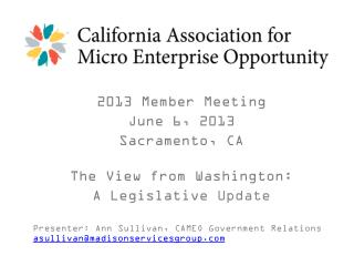 2013 Member  Meeting  June 6, 2013 Sacramento, CA The View from Washington: A Legislative  Update