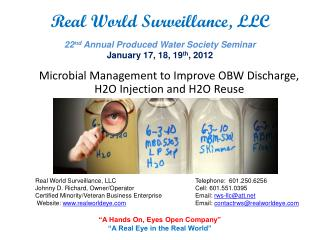 Microbial Management to Improve OBW Discharge, H2O Injection and H2O Reuse
