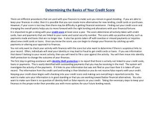determining the basics of your credit score