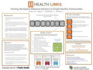 Training Workplace Wellness Advisors to Create Healthy Communities Haan, M., Lapaz, L., Newman, L., Tenney, L.