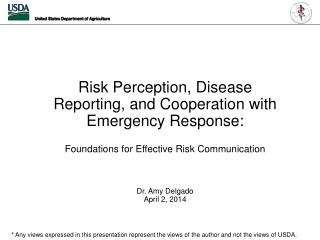 Risk  Perception, Disease Reporting, and Cooperation with Emergency Response : Foundations for Effective Risk Communica