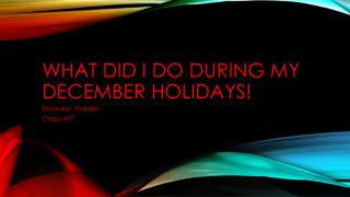 What did I do during  my December  holidays!