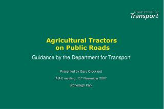 agricultural tractors  on public roads