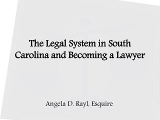 The Legal System in South Carolina and Becoming a Lawyer