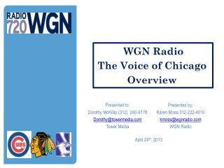 Presented by: Karen Moss 312-222-4010 kmoss@wgnradio.com WGN Radio