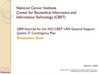 National Cancer Institute Center for Biomedical Informatics and Information Technology (CBIIT)