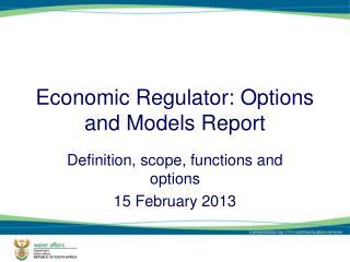 Economic Regulator: Options and Models Report