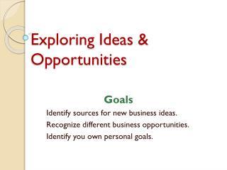 Exploring Ideas  &  Opportunities