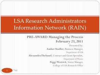 LSA Research Administrators Information Network ( RAIN )