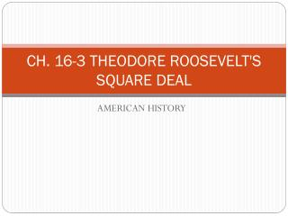 CH. 16-3 THEODORE ROOSEVELT'S SQUARE DEAL