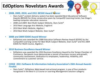 Ed Options Novelstars  Awards