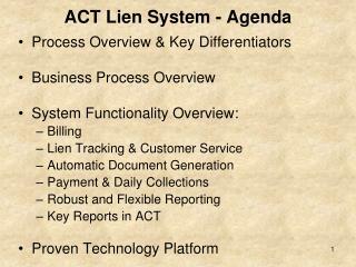 ACT Lien System - Agenda