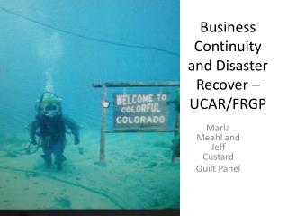 Business Continuity and Disaster Recover – UCAR/FRGP