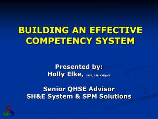 BUILDING AN EFFECTIVE COMPETENCY SYSTEM