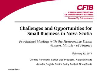 Challenges and Opportunities for Small Business in Nova Scotia
