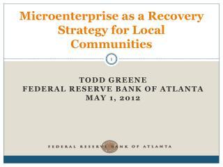 Microenterprise as a Recovery Strategy for Local Communities
