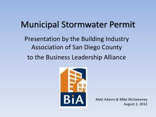Municipal Stormwater Permit