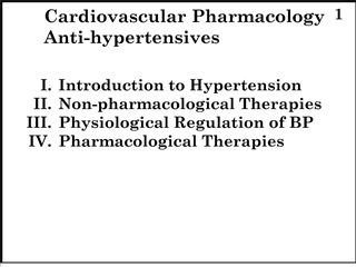 i. introduction to hypertension  ii. non-pharmacological therapies  iii. physiological regulation of bp  iv. pharmacolog