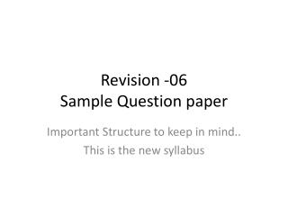 Revision -06  Sample Question paper