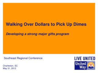 Walking Over Dollars to Pick Up Dimes Developing a strong major gifts program