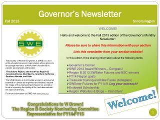 Governor�s  Newsletter  Fall 2013			 					Sonora Region