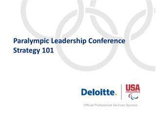 Paralympic Leadership Conference Strategy 101