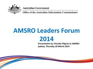 AMSRO Leaders Forum 2014
